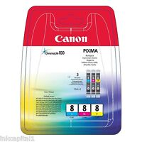CANON PACK Múltiple 3x Original OEM Cartuchos de inyección Tinta cli-8c, cli-8m,