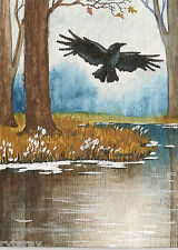 5x7 PRINT OF PAINTING RYTA CROW RAVEN WINTER XMAS LANDSCAPE GOTHIC ART LAKE HP