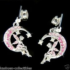 ~Pink Tinkerbell Crescent Moon~ made with Swarovski Crystal Tinker Bell Earrings