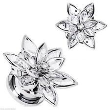 "PAIR-Flower 3D Clear Crystal Steel Screw On Plugs 14mm/9/16"" Gauge Body Jewelry"