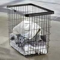 Yamazaki Home Wäschekorb schwarz Wäschesammler aus Metall mit Tragebügel