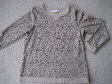 Denim & Co QVC # A256313 French Terry Animal Print Pullover Taupe in Size Large