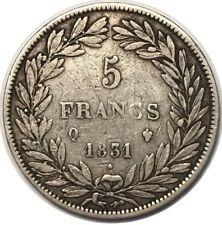 5 FRANCS LOUIS PHILIPPE I TRANCHE EN CREUX 1831 Q F.315/25