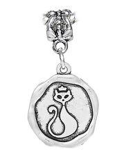 Cat Wax Stamp Kitty Halloween Medallion Dangle Charm fits European Bead Bracelet