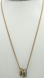 """Michael Kors Tri-Tone Clear Glass Crystals Rings Gold Tone Chain Necklace 18.5"""""""