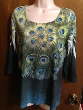 CLOSET FULL 3/4 SLEEVE WOMEN'S PEACOCK EMBELLISHED TOP SIZE M