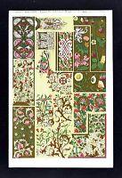 1868 Owen Jones Ornament Print Illuminated Manuscripts No 3 Middle Ages Medieval