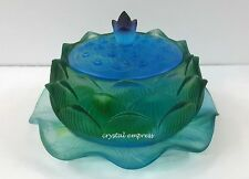 Feng Shui - 2017 Blue Green Lotus Wealth Pot (Liu Li Glass)