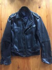 RAG & BONE COLLECTION RARE DESIGNER MENS BLACK LEATHER MOTORCYCLE JACKET