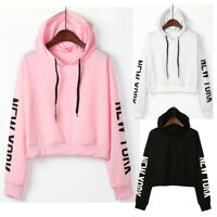 Fashion Women Long Sleeve Hooded Sweatshirt Letter Printed Tops Blouse Pullovers