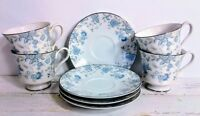 Footed Cups & Saucers 4 Sets Blue Meadow Towne Fine China Blue White Flowers 481