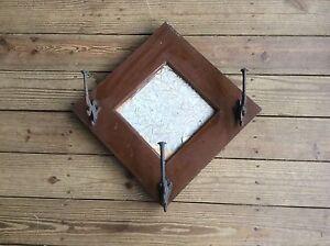 Antique Handmade  Hat Rack  Wood Frame 3 Triple Hangers Art & Crafts