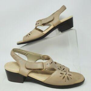 SAS Sunburst Taupe Leather Hook Loop Buckle Low Heel Comfort Sandals Women 10 W