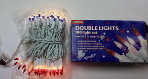 Noma Double Lights 100 Christmas Light Set Red Clear & Blue Clear white 35 Ft