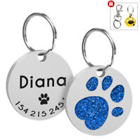 Personalized Engraved Glitter Paw Print Pet Tag Dog Cat Pet ID Tags Free Bell