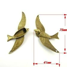 6X Vintage Style Bronze Tone Swallow Pendant Charms 75*41*10mm