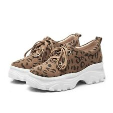 Womens Vogue Suede Leopard Printing Lace up Sneakers Platform Soft Creeper Shoes