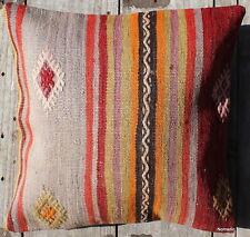 (45*45CM, 18 INCH) Boho handwoven kilim cushion cover pale coloured stripes
