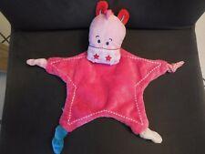 297/ doudou plat hippopotame rose étoile TIAMO