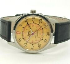 hmt pilot mens steel plated winding yellow dial made india watch run order