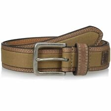 Berne Workwear Mens Leather Belt with Canvas Center
