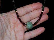 Pre-Columbian Jade Bead Necklace with Emerald, Garnet and Gold, Costa Rica, Maya