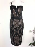 Gorgeous River Island Pencil Dress Black Nude Lace Overlay Wedding Party UK 8/10