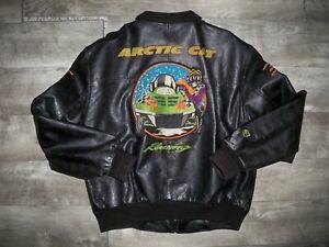 Vintage Arctic Cat Snowmobile Leather Bomber Racing Men's Jacket Coat Size Large