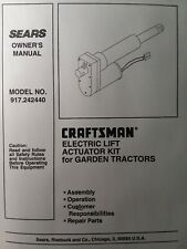Sears Craftsman GT Lawn Garden Tractor Electric Implement Lift Manual 917.242440