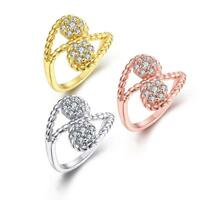 Rose Gold Platinum  Plated Cocktail Ring AAA Zirconia Women B265