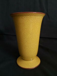 Rosenthal Keramik-Vase, Unterglasur-Craquelé, gelb, brauner Rand, 1938-40