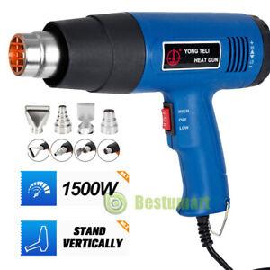 1500W Heat Gun Hot Air Wind Blower Dual Temperature +4 Nozzles Power Heater Tool