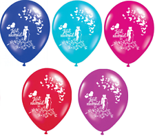 """10 X JUST MARRIED 12"""" PREMIUM PEARLISED HELIUM WEDDING PARTY BALLOON BALLOONS"""