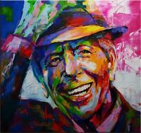 LEONARD COHEN Portrait Pop Art Oil Painting on Canvas wall decor 28x28""