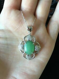 Pretty Natural 5.4ct Green Jadeite Jade (Type A) 925 Silver Pendant with Chain