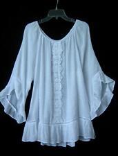 New White Ruffle Crochet Lace Peasant Gypsy Blouse Boho Tunic Top Shirt~16/18/XL
