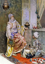 Oil painting Ettore Simonetti - Young Arab women in the dressing room on canvas