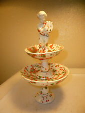 vintage candy dish- 2 tiered holiday with boy holding harp