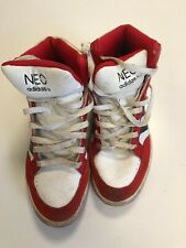 N659 MENS ADIDAS NEO RED WHITE LACE UP HIGH TOP TRAINERS UK 8 EU 42 US 8.5