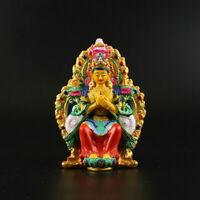 10cm Tibet Tibetan Buddhism Resin Colour Qiangba Buddha Maitreya Buddha Statue