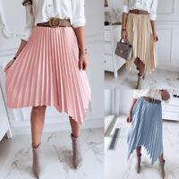 Elegant Women Pleated Skirt Elastic High Waist Solid Color Midi A-line Dress Hot