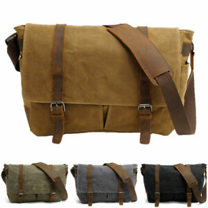 Mens Canvas Leather Shoulder Messenger Bag Vintage Military Satchel Briefcase