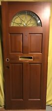 Antique Wood Exterior French Entry Door /w Stained Glass Half-moon 32x79