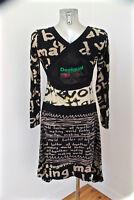 adorable vestido de manga larga algodón DESIGUAL talla 38 M/40 EXCELENTE ESTADO