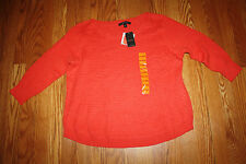 NWT Womens FEVER 3/4 Sleeve Red Coral Knit Sweater Size XXL 2XL