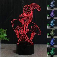 Marvel Spider Man 3D Acrilico LED 7Colore Luce Notturna Scrivania Lampade Regalo