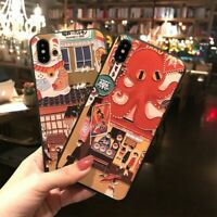 Japanese Style Relief Embossed Phone Case for iPhone 7 8 X XR XS 12 11 Pro Max
