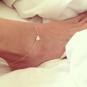 Girl Fashion Simple Heart Bracelet Chain Beach Foot Sandal Jewelry Hoc