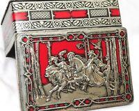 Vtg England Tin Rileys Medieval Embossed Metal Hinged Lid Red Halifax Toffee