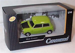 Mini Cooper in Lime Green Black bonnet 1-43 scale new in box